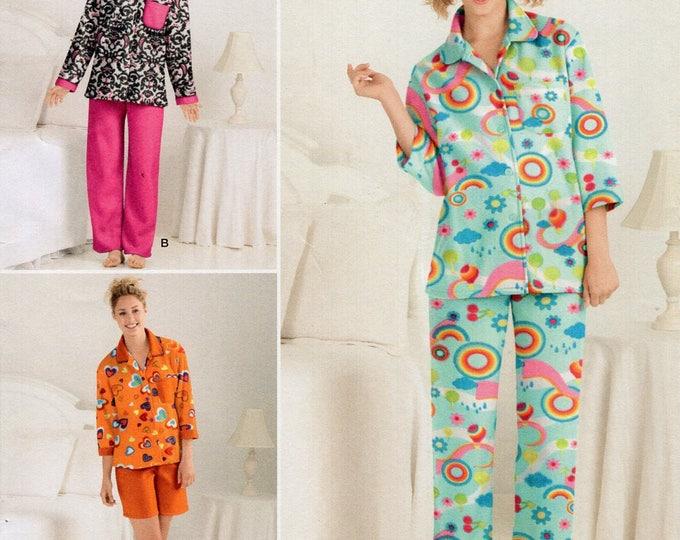 Simplicity 2280 Free Us Ship Sewing Pattern Pj's Pajamas Short long Pants Flannel Teri Designer Uncut Size 4 6 8 10 12 Bust 29 30 31 32 34