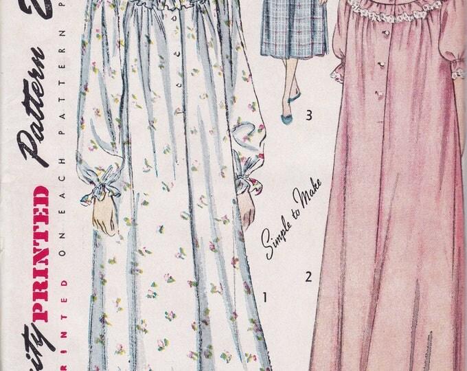 FREE US SHIP Bust 40 Vintage Retro 1940's 40's Original Sewing Pattern Simplicity 2646 Uncut NIghtgown Robe Sleepwear Lingerie Yoked  ff