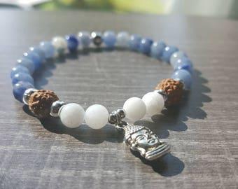 Thin blue aventurine, white jade and rudraksha bracelet