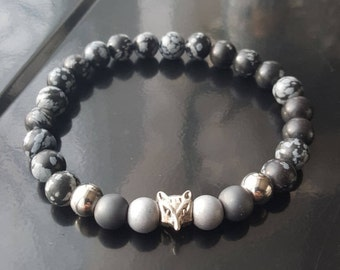 Elastic man bracelet, fox, wolf, stone, hematite, obsidian, snowflake, black and gray