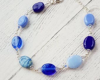 blue bracelet sterling silver bracelet swarovski crystals gifts for her lampwork glass