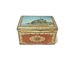 Vintage metal cake box Mont Saint Michel, Normandy France