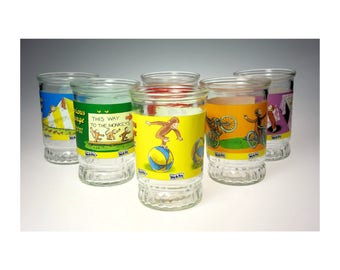 Curious George Welchs Jelly Jar Complete Set of 6 w 1 Extra