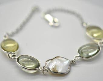 Pearl, Quartz and Amethyst Bracelet Lemon Quartz, Green Amethyst and Fresh Water Pearl Sterling Silver Bracelet