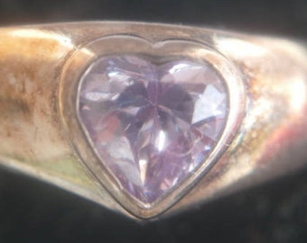 STERLING silver hallmarked and purple amethyst heavy ring FREE shipping!