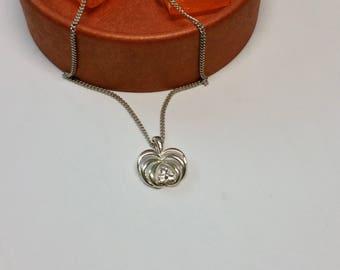 Pendant silver 835 leaf Crystal stones SK1053
