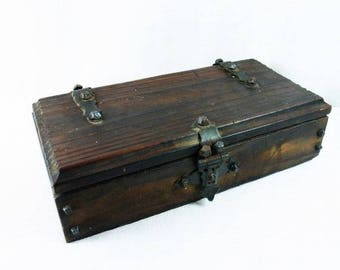 Vintage Wooden Chest Wooden Box Jewelry Box Steampunk LARP Cosplay Beautiful Old Jewelry Box