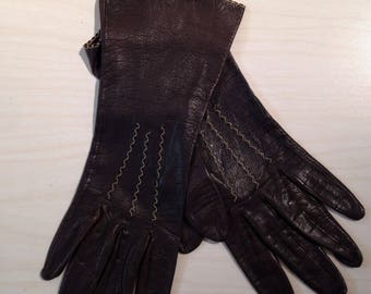 Vintage Leather Gloves, Brown Leather Driving Gloves, Unlined Leather Gloves,Size 20 Gloves or Size 6 to 7 US, Soft Supple Leather Gloves