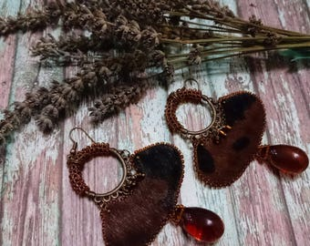 Leather pony horse seed bead jewelry animal print beaded earrings ethnic jewelry black brown leather earrings beadweaving beadwork earrings