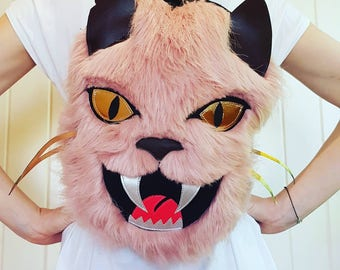 Evil Kitty fur and leather backpack