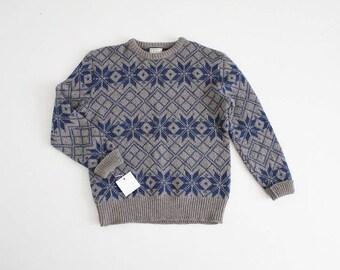 mens wool ski sweater | mens snowflake sweater | gray and blue snowflake sweater