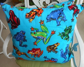 "Turquoise Coqui Frog Pillows. size 20x20""; 20.00 each"