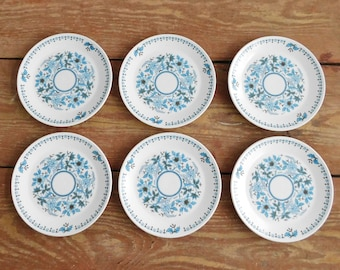Vintage Noritake Progression Blue Moon 9022 Dessert Plates , Blue Floral Pattern Japan Dinnerware