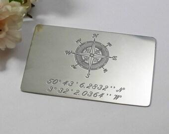 Coordinates Gift, Metal Wallet Insert, Personalised Latitude Longitude Jewelry, Location gift, Silver anniversary gift, custom coordinates