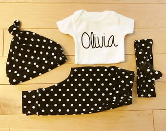 Polka Dot Coming Home Outfit / Baby Girl / Black White / Knot Hat / Headband