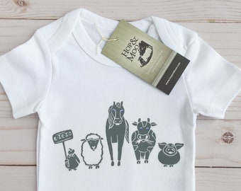 FARM FRIENDS- Organic Unisex Baby Clothes, Baby Bodysuit, One Piece, Baby Gift, Baby Shirt