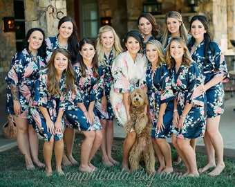 Bridesmaid Robes, MIX&MATCH, Bridesmaid Gifts, Floral Robe, Kimono Robe, Wedding Robe,Satin Robes,Set of Bridesmaids Robes,Bridesmaids Party