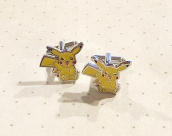 Pokemon Pikachu Cufflinks Cuff Links in Silver