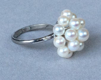 Pearl Cluster and Sterling Silver Ring  Size 5 1/2