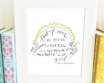 Anne of Green Gables quote, nursery quote, yellow nursery art, nursery artwork, childrens literature, LM Montgomery quote, Anne Shirley, AQM