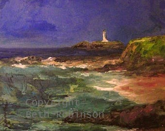 Beth Robinson art greetings card: the lighthouse