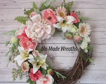 Easter Wreath, Spring Wreath, Mothers Day Wreath, Front Door Wreath, Entryway Wreath, Gift for Grandma, Entry Decor, Shabby Chic Wreath