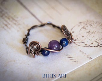 Goth Lapis ring - Wire wrapped / alternative jewelry / fantasy / lapis lazuli / goth / witch jewellery / pirate ring / vampire / halloween