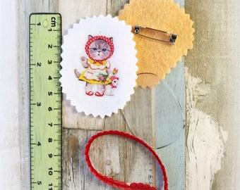 broches originales, broche gato, broche tela, material artesanía,broche para ropa,material bisutería, material manualidades, kit diy, pin