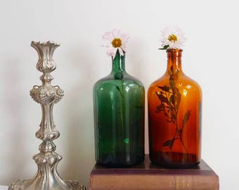 Set of 2 old apothecary bottles / Amber green glass/ Old glassware / Pharmacy bottle / Antique bottle collection / Container /