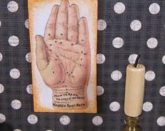 1:12 dollhouse ART Miniature Fortune Teller Antique mini wall decor Advertising Sign Palm Reading
