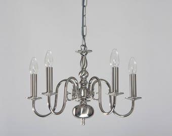 Flemish chandelier, nickel polished/matt, 5xE14