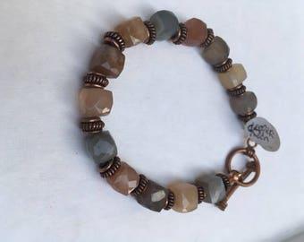 Moonstone and Copper Bracelet