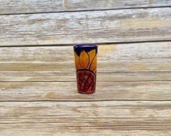 Sunflower Talavera Shot Glass //  Hand Made Pottery // Decorative Tequila Shot Glass