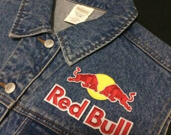 3 Pcs Red Bull Logo Embroidered iron on Patch, sewing patch diy | Biker Patch | Racing Patch