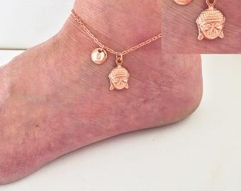 Rose gold anklet, buddha ankle bracelet, buddha anklet, leaf, rose gold ankle bracelet, boho anklet, anklet, beach jewellery,