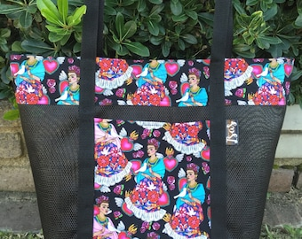 Frida Kahlo, Sacred Heart, white dove & flowers Reusable Tote Bag, Shopping Bag, Market Bag, Beach Bag, Everyday Totebag