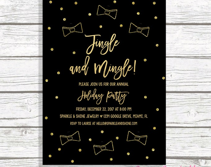 Christmas Party Invitation, Jingle and Mingle Invitations, Office Holiday Party Invitation, Black and Gold Christmas Party Invitation