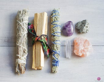 Energy Cleansing Kit - Protection - Cleansing - Purification - Smudge - Sage - Healing Stones - Meditation - Palo Santo - Healing Supplies