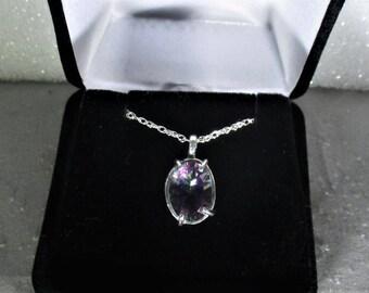 genuine mystic quartz gemstone handmade sterling silver pendant necklace - mystic quartz pendant - mystic quartz jewelry