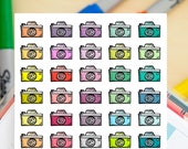40 Rustic Cameras Doodles -  Multicolors Hand Drawn Sticker Planner