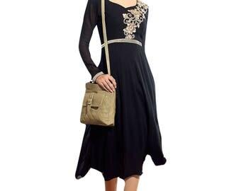 Indian Pakistan  Kurti Dress Top Tunic Bollywood Anarkali like Black Color Pure Georgette dress