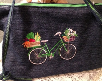 Denim bag, embroidered green bike, repurposed denim, 8*12, cross-body bag, lining green white, zip pocket, inside pockets, zip close
