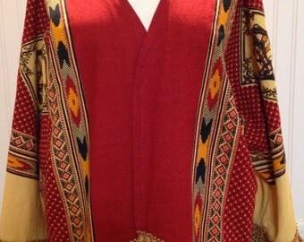 Vintage up-cycled Kimono red gold black tablecloth south western print large cotton kimono jacket 3 quarter sleeves gold fringe repurposed