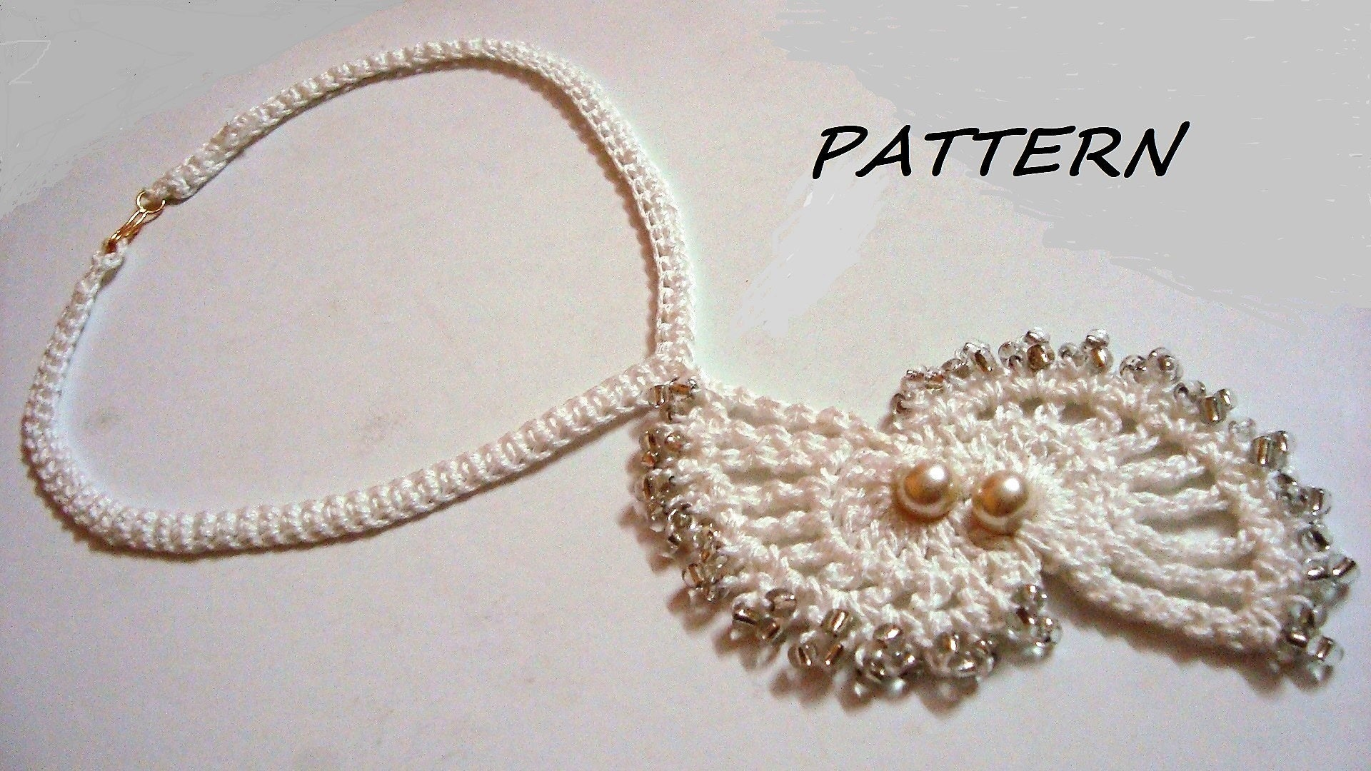 Crochet necklace pattern crochet twin shell beaded necklace zoom bankloansurffo Image collections