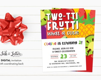Twotti Frutti Birthday Invitation - Tutti Fruitti Birthday Printable - Second Birthday - Birthday Invitation - Printable Invitation