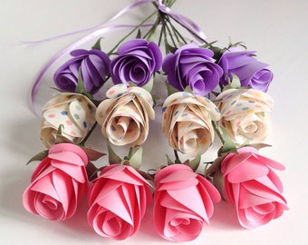 A Dozen Mixed Pink, Purple and Spotted Paper Roses