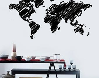 Wall Vinyl Decal World Map in Hatching Style America Africa  Eurasia Continents (#2499dn)