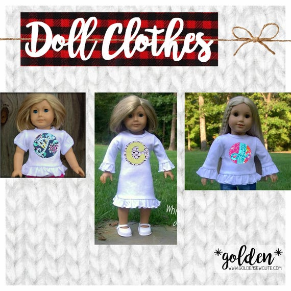 """CYBER MONDAY 2017 SALE!  American Doll, Our Generation Doll, 18"""" Doll Ruffle Tee, Dress, Short or Long Sleeve, Custom, Personalized, Initial"""
