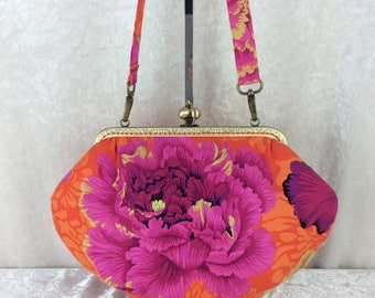 Peony Grace frame handbag purse Philip Jacobs  Kaffe Fassett Collective Peony Brocade fabric bag clutch handmade in England