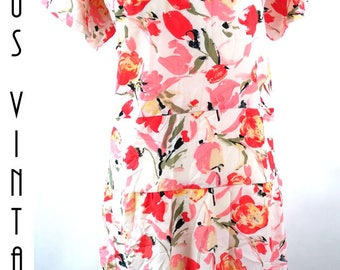 """Plus Size UK 28 1980s Vintage Floral Tea Dress Orange Peach EU 56 US 24 Bust 54"""" 137cm"""